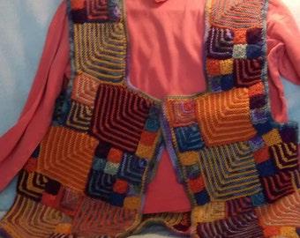 HodgePodge Vest I -  handknit, multicolored