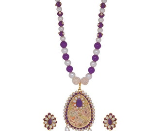 Indian Jewelry Multicolor Pachhi Work Reception Necklace Set Earrings MY5071