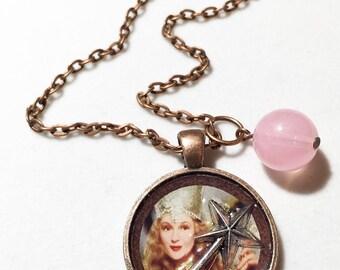Wizard of oz, Glenda good witch, pink, wand, movie jewelry, wizard of oz inspired, wizard of oz, glenda, good witch,  witch, glenda jewelry