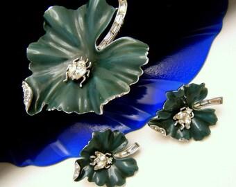 Crown Trifari Vintage Brooch Earring Set Rhinestone Insects Enamel Leaf