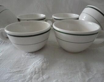 Buffalo China Cups Set Of Six Green Trim Vintage Restaurant Coffee Tea Cups