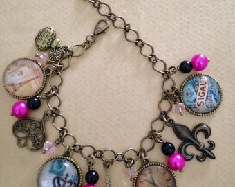 Old Paris Charm Bracelet in Bronze - Handmade, Unique (FREE or LOW COST shipping)