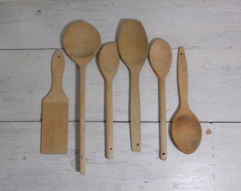 Six Vintage Wooden Cooking Utensils