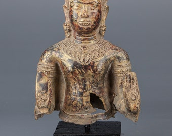 """Buddha Statue - Antique Khmer Style Bronze Abhaya Mudra 11"""" Protection Buddha"""