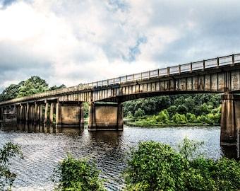 Bridge Photograph, Highway 84 Bridge over Sabine River, Texas to Louisiana Bridge Fine Art Print or Canvas Wrap