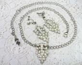RESERVED - ROBIN -OOAK Vintage Authentic 1920s Art Deco Rhinestone Necklace/Earring Set - silver pot metal - Gatsby -Screw back earrings