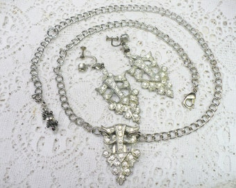 OOAK Vintage Authentic 1920s Art Deco RHINESTONE Necklace/Earring Set - silver pot metal - GATSBY Bridal -Screw back earrings - Flapper gift
