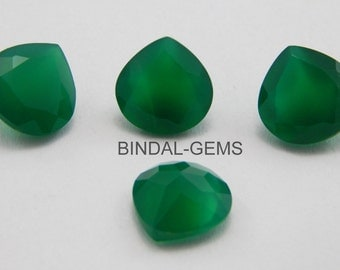 10 Pieces Wholesale Lot Of Green Onyx Heart Shape Faceted Cut Gemstone For Jewelry