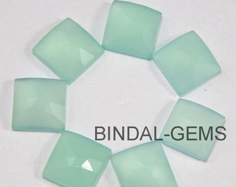 15 Pieces Lot Aqua Chalcedony Square Shape Rose Cut Loose Gemstone