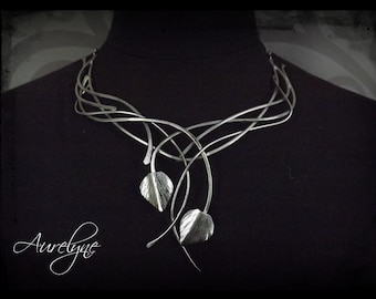 """Stainless steel necklace Conte """"The Water Drop"""" leaves nenuphar leaves and interlacing dreamlike plant Elven"""