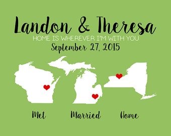 Unique Anniversary Gift, Met, Married, Home Maps, Wedding Colors, First Anniversary Gift for Wife, Husband, Home Sweet Home Sign | WF339