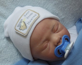 Newborn Hospital Hat. Newborn Coming Home. Newborn Girl Hat. Newborn Boy Hat. Sent from Heaven Embroidery