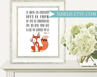 Tribal Nursery Bible Quote Be strong and courageous, Christian Nursery Scripture, Bible Verse Print Joshua 1:9 wall art Baby shower gift