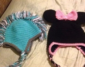 Mickey or Minnie Mouse hat (right side only)