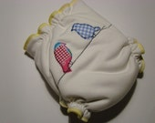Birds appliqued white velour cloth diaper in OS size, applique diaper, split diaper with inserts