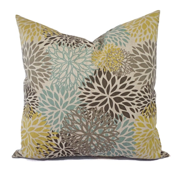 Brown Yellow And Blue Decorative Pillow By Castawaycovedecor