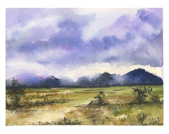 """Misty Mountains -  7x10"""" Watercolor Painting"""