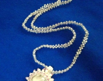 Silver White Beaded Glass Сabochon Pendant