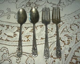 4 pcs Harmony House silver plate spoons & salad forks CLASSIC FILIGREE 1936 era