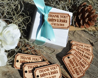 Personalized Hardwood Rectangular Favor Tags, Custom Engraved Tags