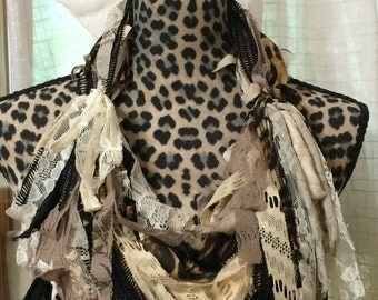 RECYCLED REMNANTS  Upcycled Scrappy Scarf Animal Print
