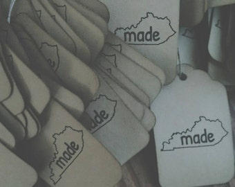 "State themed gift tags, ""made"" choose your state, state outline, set of 12 tags"