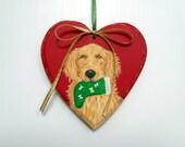 Golden Retriever Ornament - Golden Retriever Christmas Ornament - Wood Golden Holiday Heart Hand Painted