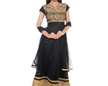 Indian Designer Salwar Kameez Straight Fit Black Color Net Fabric Bollywood Party Wear Salwar Kameez Printed Churidar Suit Salwar Kameez