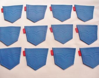 12 DENIM Jeans Levis Pocket Edible Fondant Cupcake Toppers
