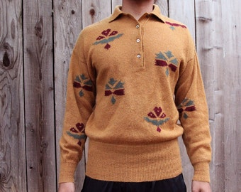 Vintage Escada Tribal Oversized Camel Sweater
