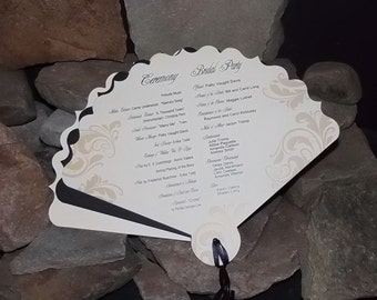 Unique Wedding Program Fans, Personalized, 3 layers, Your Colors