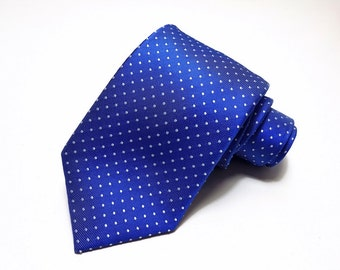 Silk Tie in Pin Dots of White on Sky Blue