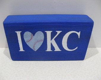 I Love KC Royals wood block, Baseball decor, Wood home decor, team spirit, royal blue, powder blue and white