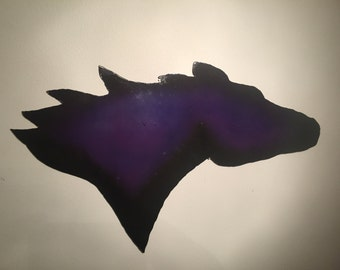 Purple galvanized horse head