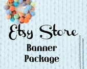 Aqua Yarn Watercolor:  An Etsy Store Digital Banner Package, Including New Cover Shop Photo, Etsy Supplies for Knit Crochet or Yarn Shops