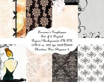 Digital Paper Pack - Dior - Watercolor - Printable - Fashion Blog - Fashion - LBD - Vintage - Free Tags - Christian Dior - Black - JPG