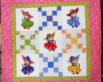 Retro Vintage Look Quilt Pam Kitty Belle Made to Order  Baby Toddler Play Mat Nursery Decor Wheelchair Lap Quilt or Wall Hanging