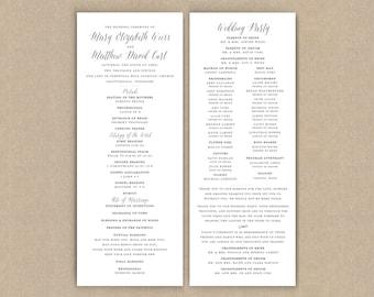Printed Wedding Programs // Classic Grey Flat
