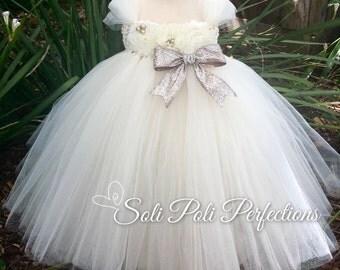 White Tutu Dress, Flower Girl Dress, Flower Girl Dress White, White Flower Girl Dress Tulle, Christening Dress