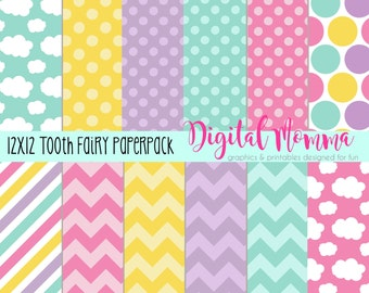 Tooth Fairy Digital Paper, 12x12, JPG, Personal & Commercial Use, Instant Download!