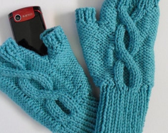 Fingerless Gloves Wool Texting Mitts Aquamarine Blue Winter Mitts Adult Size Ready to Ship