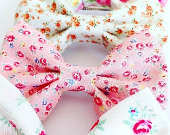 Shabby Chic Floral Fabric Bow Barrettes