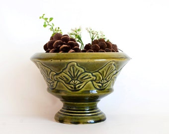 Clearance- Vintage Mid Century Olive Green Ungemach UPCO Planter Vase, Flower Pot, USA Pottery, Nouveau Craftsman STYLE