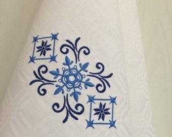 Tea Towel Dish Towel Kitchen Decoration Embroidery White Blue Hand Guest Towel