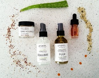 Oily+Acne+Combination Facial Gift Set.Natural Skin care.Facial Serum.Facial toner.Facial cleanser.Cleansing Oil.Travel size