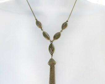 Vintage Gold Tone Tassel Necklace, Gold Bead, Dangle Tassel Necklace