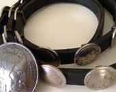 Indian Head nickel black leather concho belt