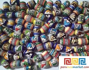 500 Peruvian ceramic beads mixed round and tube 6 mm to 12 mm