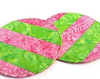 Batik Coasters: pink and green quilted coasters, candle mats, round mug mats, set of 2 cloth coasters