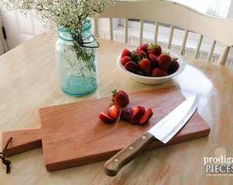 Farmhouse Wooden Cutting Board Handmade of Solid Oak ~ Rustic Shabby Cottage Chic Style
